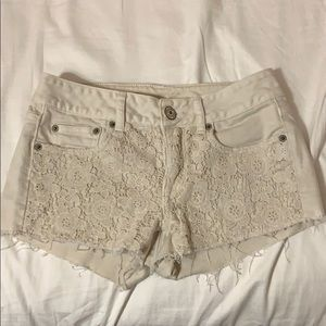 AE cream lace jean shorts